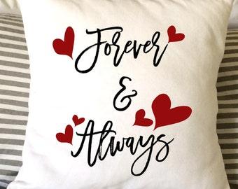 Valentine Pillow, Forever & Always Pillow, Love Pillow, Decorative Pillow, Throw Pillow, Burlap Pillow, 16x16 Pillow, Gift Pillow