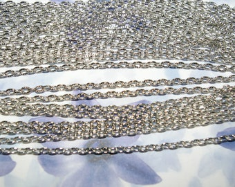 10 m textured open mesh 4, matte silver plated chain 5x3x1mm