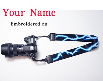 lightning Custom  Camera Strap  Personalized Camera Strap Embroidered DSLR Sony, Nikon, Canon Accessorie Photography Gift Birthday Gift