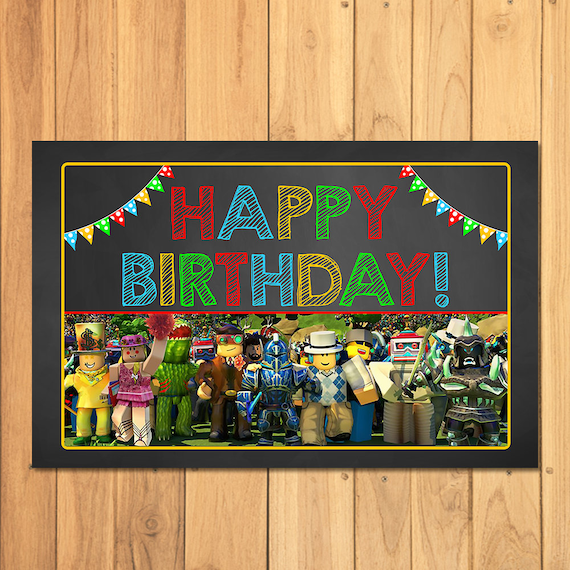 Roblox Placemat Chalkboard Roblox Happy Birthday Party Place