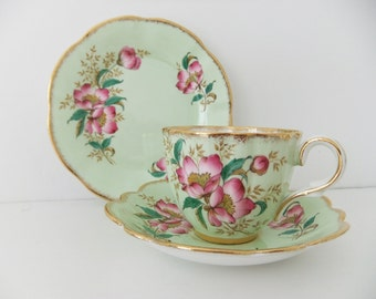 Vintage Bone China tea cup, saucer and side plate - Clare China in mint green with pink blossom