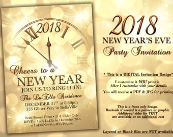 New Years Eve Party Invitation, Gold Sparkle Clock Invitation