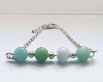 Green Amazonite Fidget Bracelet, Fidget Jewelry for Adults, Fidget Bracelet/Necklace, Healing Gemstone, Anxiety Jewelry, Jewelry for Anxiety