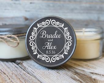 Set of 12 - 4 oz Candle Wedding Favor - Soy - Personalized Wedding Favors // Chalkboard Wedding Favors/Bridal Shower Favor