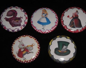 Alice in Wonderland  Set of 15 Buttons