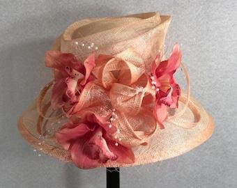 Light Peach Kentucky Derby Hat Wedding Hat