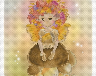 Cross stitch Chart Pattern Flower Sprites - Autumn Fae Sprite Chart by Mitzi Sato-Wiuff