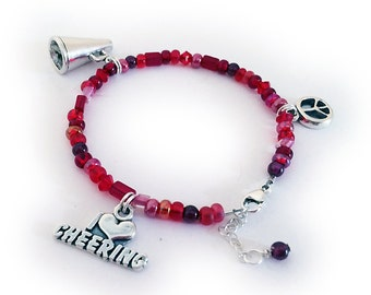 Cheer Charm Bracelet - Megaphone, I (heart) Cheer and Peace Symbol Charms
