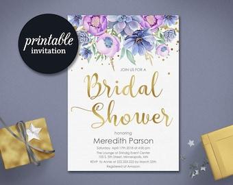 Printable bridal shower invitation Floral Bridal shower invitation Printable Gold purple bridal shower invitations Summer bridal shower