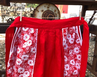 Vintage half apron. Red with white flowers
