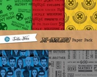 X-Men Paper Pack : 30 Printable Digital Scrapbook Papers