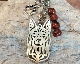 Kelpie gemstone key chain/ bag charm