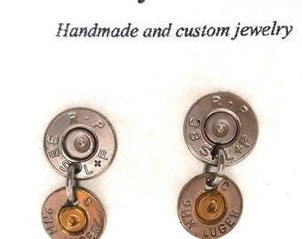 Bullet Jewelry- 38SP/9mm Nickel Bullet Dangling Earrings