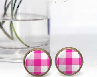 Tiny pink stud earrings, Round Cabochon earrings, Plaid tartan retro style jewelry, Affordable Gift for her, Photo earrings, 5035-6