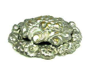 Art Nouveau Style Large Layered Flower Brooch Silver Plate Gold Plate