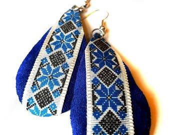 Painted leather earrings ,Dangle & Drop Earrings, Ethnic , Tribal jewelry, Leather Jewelry, Boho Earrings, Gift for her, Valentine's Day