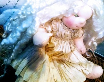 """Moonlight Fairy 13"""" Button Jointed Waldorf Doll With Lincoln Lock Weft Hair, Luna Moth Wings CUSTOM ORDER"""
