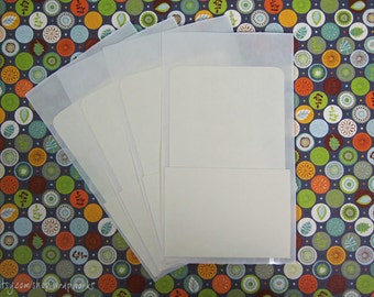 50 Library Card Pockets with Self Adhesive Backs, Pocket Letters, Junk Journals