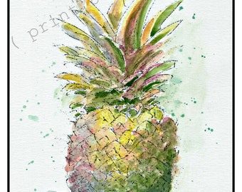 Pineapple watercolor painting print, kitchen wall art, pineapple art,