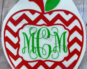 chevron apple vinyl decal, monogram apple decal, personalized apple decal, apple decal, apple sticker, chevron apple sticker, monogram