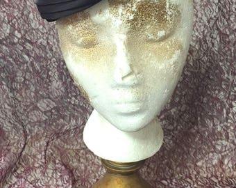 Hat, Black, Velvet, Satin, Rhinestone