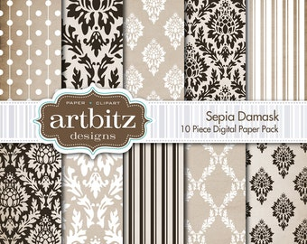 "Sepia Damask 10 Piece Digital Scrapbooking Paper Pack, 12""x12"", 300 dpi .jpg, Instant Download!"