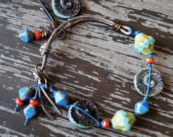 Unlisted - Rustic Blue and Red Bracelet - Shells - Boho Beaded Bracelet - Leather Bracelet - Charm Bracelet - Knotted - Bead Soup Jewelry
