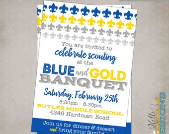 Banquet invitation etsy blue gold banquet invitation scouts invitation custom for just4dee78 stopboris Choice Image