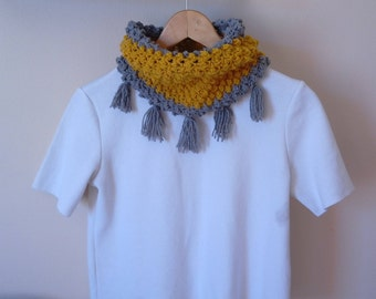 Cowl,mustard cowl,yellow cowl,fringed cowl,gray cowl,two color cowl,elegant cowl,crochet cowl,handmade cowl,warm cowl,soft cowl