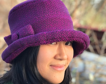 Handwoven Wool Cloche Hat- Herringbone- Violet
