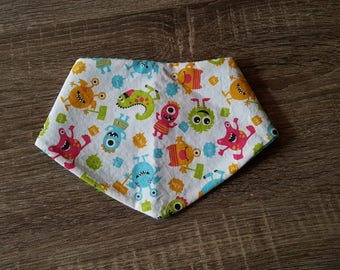 Colorful baby monster small bandana bib