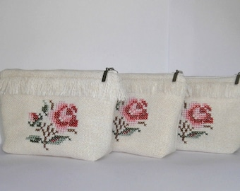 English Garden -set of 3 offwhite zipper pouch with embroidered rose, handmade hippie clutch, bridesmaid gift bag, rustic wedding bags