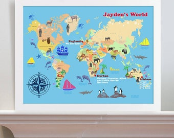 World map etsy uk personalised childs world map print gumiabroncs Image collections