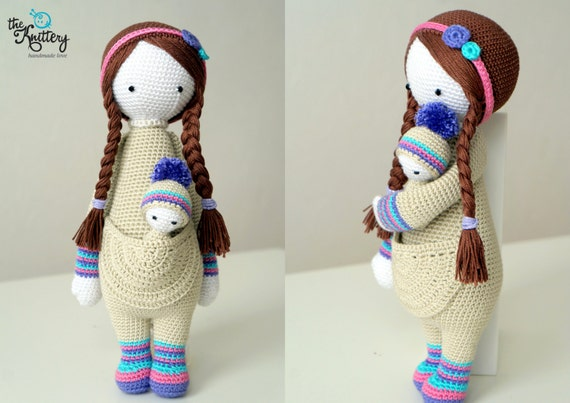 Lalylala Amigurumi Doll : Crochet doll with baby hair in braids and head accessory