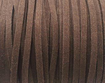 1 meter wide 5 mm brown suede cord