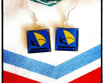 """earrings """"sailboard""""- blue and yellow"""