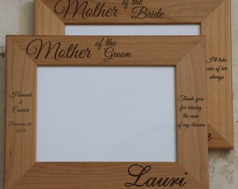 5x7 Mother of Groom Gift, Mother of Bride Frame, Laser Engraved Wood Picture Frame, Personalized Picture Frame, Aunt, Grandma, Wedding frame
