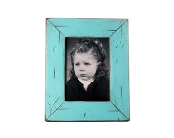 5x7 Cabin picture frame - Turquoise, Free Shipping