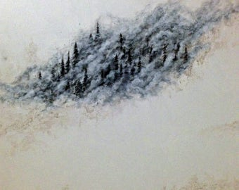 Custom Soul Painting/ spirit, snow, trees, pines, landscape, guide, back country, painting, original, art, drawing, sacred