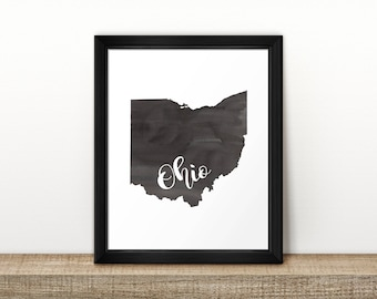CLEARANCE // Ohio state Map // Watercolor art print // Ohio Poster // Travel // Wall Art // painting // US state map print // Home Decor