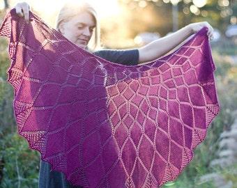 Dahlia  - pattern lace shawl knitting wool flower feminine merino yarn