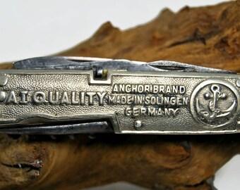 Solingen pocket knife, silver pocket knife, Vintage folder, collectible knife, Slim Foldable Knife, Pen Knife, Knife Brass Knife Collectible
