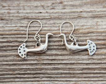 Silver Waterbird earrings