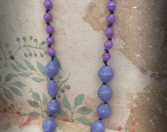 Purple handmade Necklace, Beaded jewelry, Lightweight necklace, Paper Bead Necklace, OOAK necklace, Fashion necklace, Item 210