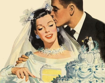 vintage illustration bride and groom cutting wedding cake digital download