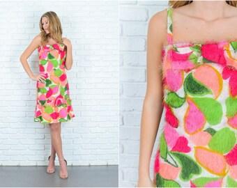 Vintage 60s Pink + Green Mod Dress Fuzzy Shaggy Mod leaf bow A line Small S 6706