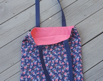 Summer tote bag Cotton + Steel Rifle Paper Co. Les Fleurs Rosa Navy Fabric.