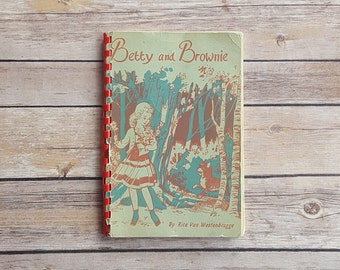 Betty And Brownie Spiral Book 1950s Children's Life Tale Cute Girl And Dog Story Rita Van Westenbrugge Rare Kids Book 50s Simple Kids Story