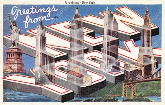 Greetings from new york big letters art deco postcard m4hsunfo