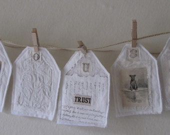 OOAK WHITE ON WHITE COTTAGE STYLE FABRIC ART FABRIC COLLAGE VINTAGE INSPIRED BANNER BUNTING PENNANTS